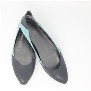 Calvin Klein leather gray blue suede ballet flats